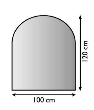 Ofen Unterlagsblech mit Rundbogen 100 x 120cm, Struktur silber antik beschichtet, 1,5mm Stark