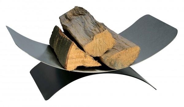 Holzkorb mit 30 x 44cm, Holzablage aus matt gebürsteten Edelstahl, Sockel ist schwarz beschichtet