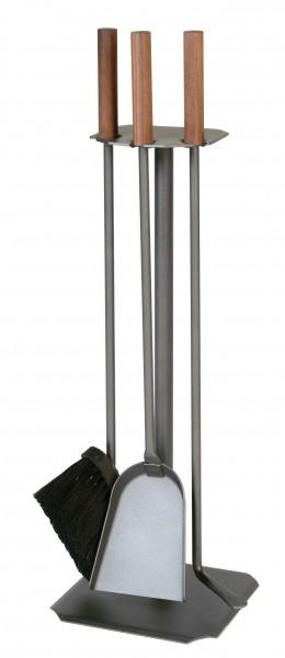 Kachelofenbesteck 3-teilig anthrazit 62cm, Besteck mit Nussgriffen, Besen mit Rosshaaren