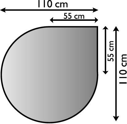 Kaminofen Unterlageblech in Tropfenform 110x110cm, Struktur silber antik beschichtet, M-Stärke 1,5mm