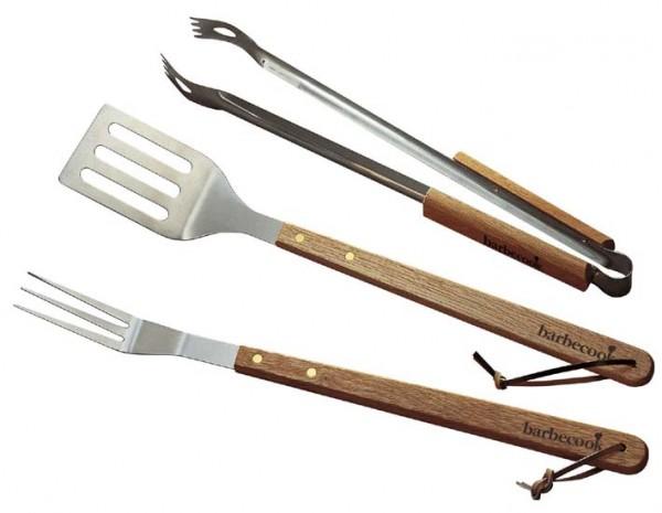 Grillbesteck Standard 3-teilig, Wender + Zange + Gabel, Edelstahl mit Holzgriff
