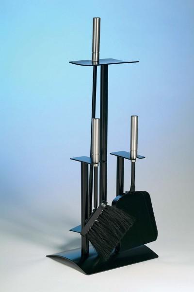 Kaminbesteck schwarz 3-teilig schwarz beschichtet mit Griffe aus Edelstahl, Höhe 64cm