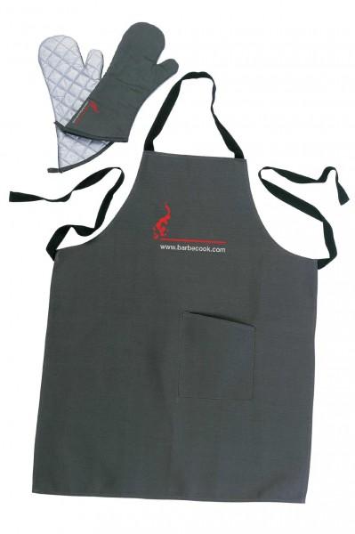 Schürzenset mit ein paar Handschuhen schwarz, Länge 40cm