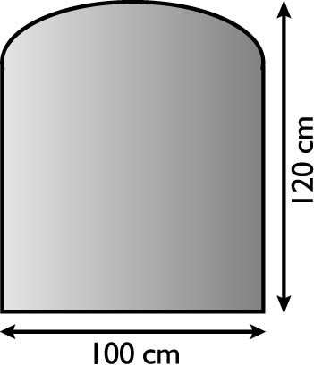 Ofen Unterlagsblech mit Segmentbogen 100 x 120cm, anthrazit beschichtet, Materialstärke 1,5mm