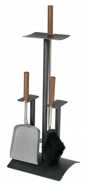 Kaminofenbesteck 3-teilig anthrazit beschichtet, Besteck aus Edelstahl/Nussholzgriffen, Höhe 64cm