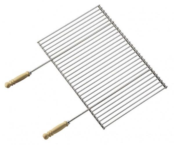Grillrost Profi verchromt mit Holzgriffen, Abmessungen Rost 70 x 40cm