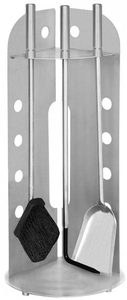 Kaminofenbesteck 3-teilig aus Edelstahl halbrund offen vorne, mit Edelstahlgriffen, Höhe 61,5cm