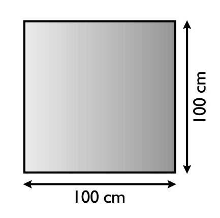 Kaminofen Unterlagsblech quadratisch 100x100cm mit silber antik beschichtet, Materialstärke 1,5mm