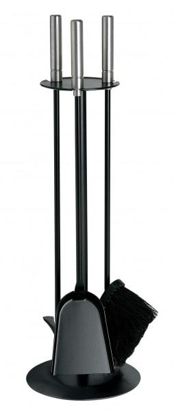 Kamingarnitur 3-teilig schwarz lackiert mit EdelstahlGriffe, Höhe 63cm
