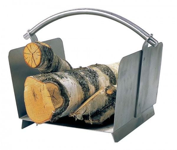 Holzkorb aus Edelstahl matt gebürstet, mit Edelstahl Griff, Abmessungen L:30cm x B:40cm