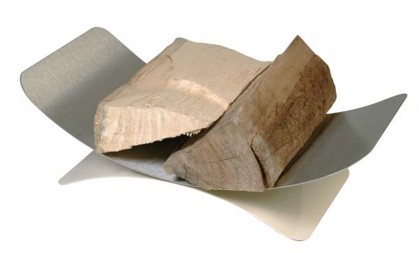 Holzkorb mit 30x44cm, Holzablage aus matt gebürsteten Edelstahl, Sockel ist elfenbeinfarbig lackiert