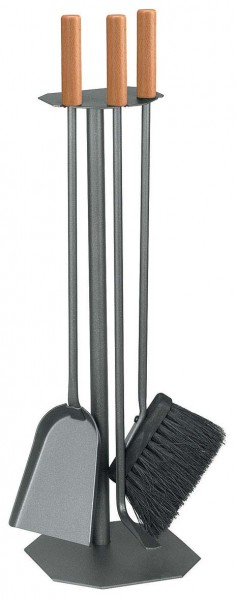 Kaminbesteck Set 3-teilig mit Buchengriffe, anthrazit beschichtet, Höhe 60cm