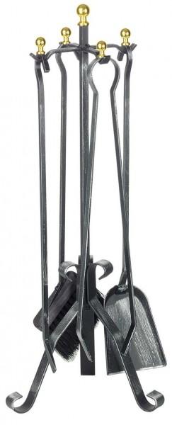 Kaminbesteck Schmiedeeisen, 4-teilig, mit Messingfarbenen Kugeln, Höhe 66cm