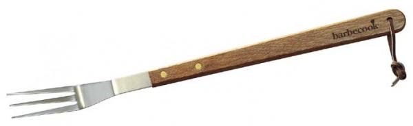 Grill Gabel aus Edelstahl mit Birken Holzgriff, Länge 46cm