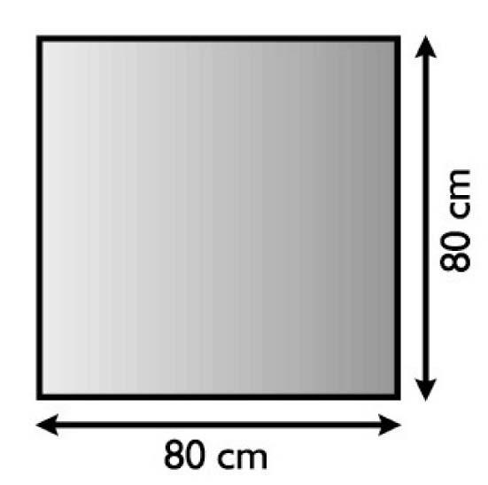 Kaminofen Bodenplatte quadratisch 80x80cm, Struktur silber antik beschichtet, Materialstärke 1,5mm