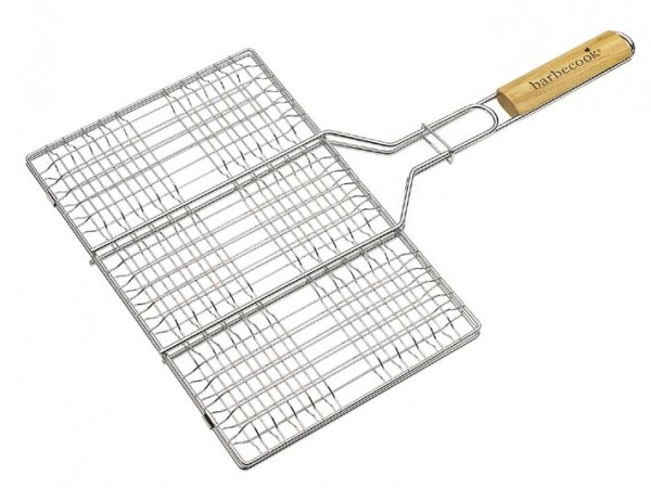 HamburgerGrill für 6 Patties, verchromt mit gerundeten Birken Holzgriff, Abmessungen 35 x 23cm