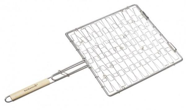 Grill elastisch, verchromt, mit abgerundeten Holzgriff, Maße 35 x 35cm