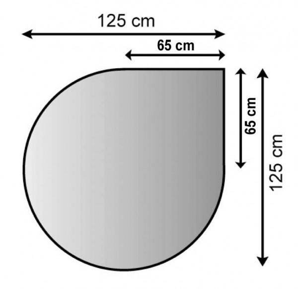 Kaminofen Unterlagebodenblech in Tropfenform 125x125cm, silber antik beschichtet, M-Stärke 1,5mm