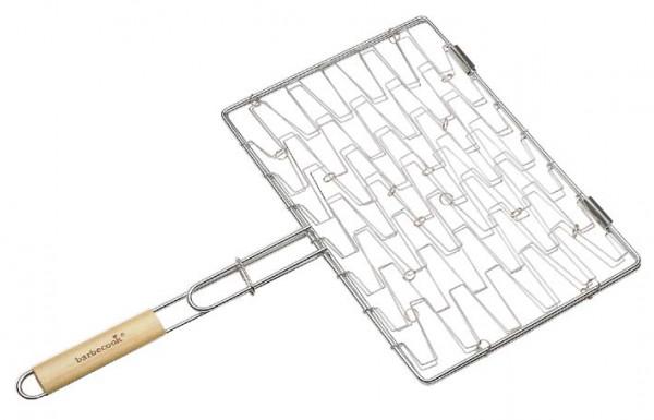 Grill elastisch, verchromt mit abgerundeten Birken Holzgriff, Maße 40 x 28cm