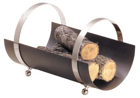 Holzkorb, Ablagefläche anthrazit farbig, Griffe sind verchromt, Abmessungen H 34 x B 33 x L 50cm