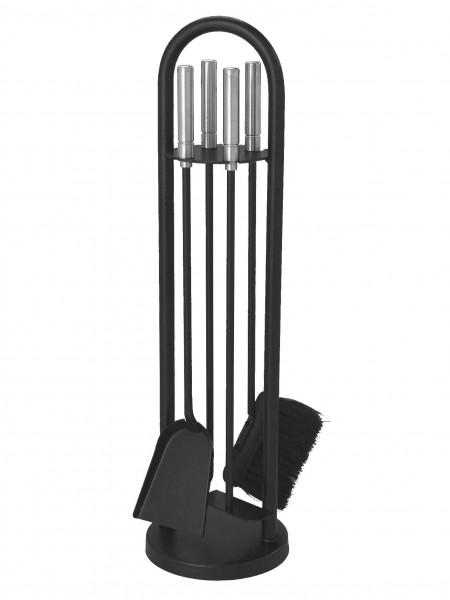 Kaminbesteck schwarz, 4-teilig, mit Rundbogen, Edelstahlgriffe, Höhe ca. 70cm
