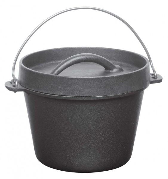 Kochtopf 0,7L mit Gestell und Henkel, schützender Wachsschicht, Durch. 14cm, Höhe 11cm