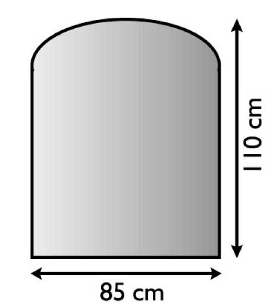Ofen Unterlageblech mit Segmentbogen 85 x 110cm, Struktur silber antik beschichtet, M-Stärke 1,5mm