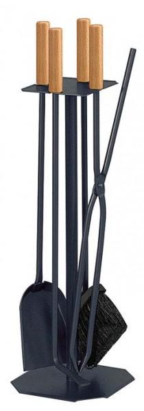 Kaminbesteck 4-teilig, 4 eckiger Sockel, schwarz, Besteck mit Buchengriffen, Höhe ca. 65cm