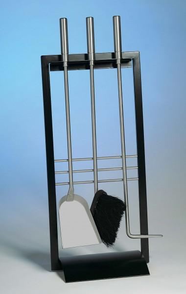 Kaminbesteck 3-teilig schwarz beschichtet, Besteck und Griff aus Edelstahl, Höhe 65cm