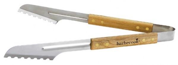 Zange Luxus aus Edelstahl mit Birken Holzgriff, Länge 40cm