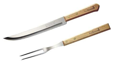 Gabel Set mit Messer, Länge 33cm, aus Edelstahl und Holz
