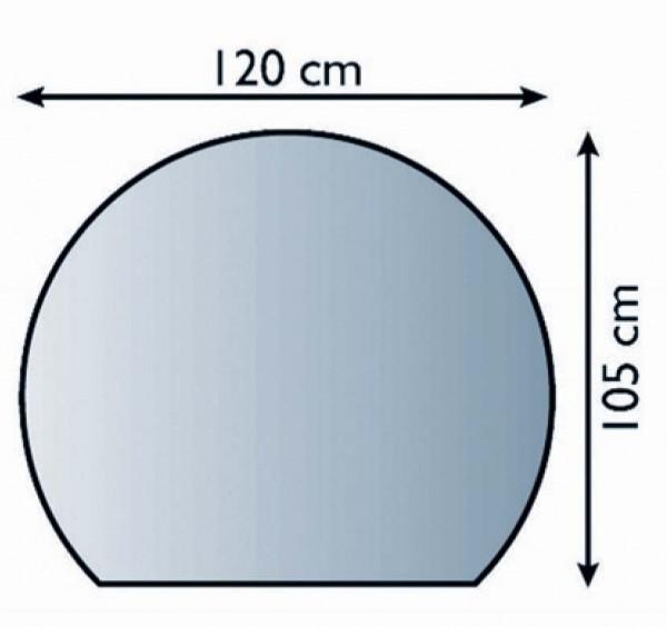 Ofen Bodenplatte halbrund 105 x 120cm, Struktur silber antik beschichtet, Materialstärke 1,5mm