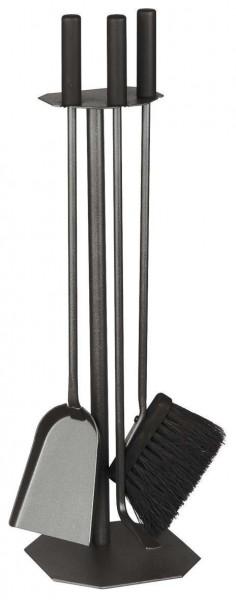 Kaminbesteck 3-teilig schwarz beschichtet mit Holzgriffe in schwarz, Höhe 62cm
