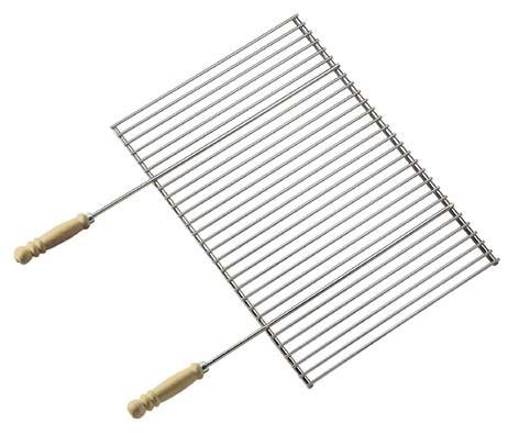 Grillrost Profi verchromt mit Holzgriffen, Abmessungen Rost 58,5 x 40cm