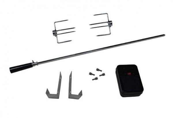 Rotisserie Set für Gasgrill, Batteriebertrieb, Spiess mit 80cm, 2 x Gabeln und Haken
