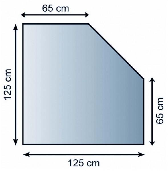 Kaminofen Unterlagsblech 5eckig  125x65x65x125cm, Struktur silber antikbeschichtet, M-Stärke 1,5mm