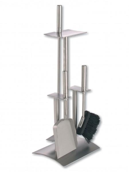 Kaminofenbesteck Edelstahl 3-teilig Höhe 53cm, gesamtes Set aus Edelstahl mit Edelstahlgriffen