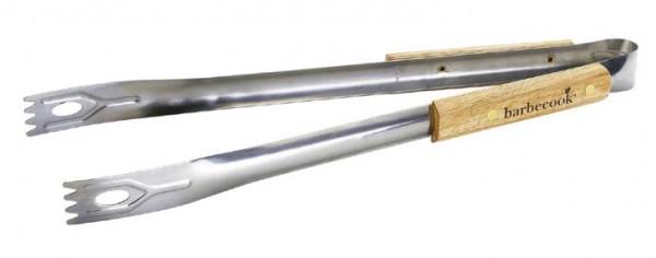 Grill Zange aus Edelstahl mit Birken Holzgriff, Länge 40cm